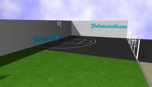 バスケットが楽しめる庭