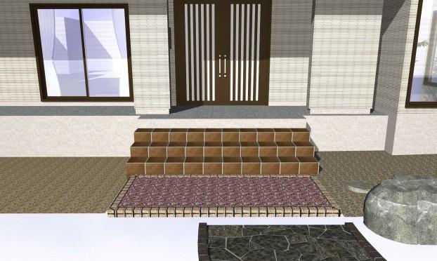 玄関前舗装フリーフロアー
