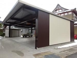 雪に強いおしゃれな大型鉄骨カーポート 永平寺町